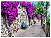 クラシックギリシャ石壁 花 背景 歩道 写真背景 7x5フィート 植物 木 写真 背景 YouTube背景 スタジオ小道具 BV017