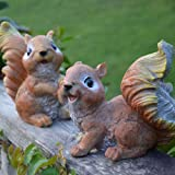 HOMMERY Set of 2 Polyresin Squirrel Figurines Garden Statues for Outdoor Decor or Lawn Ornaments,6.1in H