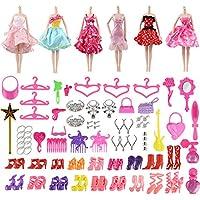 バービー用 服 靴 アクセサリー 人形用 ハンガー ドレス バービーセット98点セット29-30cmのお人形に