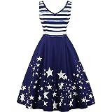 JAEDEN 1950s Dresses Womens Vintage Dresses Stars Printed Pocket Dress Sleeveless Striped Dress