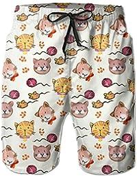 猫 メンズ サーフパンツ 水陸両用 水着 海パン ビーチパンツ 短パン ショーツ ショートパンツ 大きいサイズ ハワイ風 アロハ 大人気 おしゃれ 通気 速乾