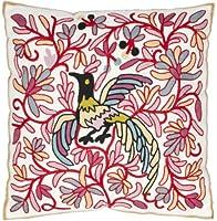 Safavieh枕コレクションAvian 18インチクリームと赤刺繍装飾枕、2のセット