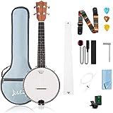 Mulucky 4 String Banjo Ukulele Concert 23 Inch Beginner Kit With Truss Rod Gig Bag Tuner String Strap Picks - BU806
