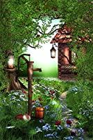 aofoto 3x 5ft写真スタジオの背景幕ヴィンテージForest House背景Dreamy Garden Vines Flowers Kid子ガールズベビーArtistic Portrait写真撮影小道具ビデオドロップビニール壁紙ドレープ