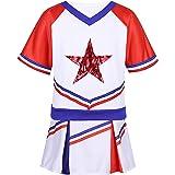 zdhoor Kids Girls Short Sleeves Cheerleading Halloween Outfits Stars Applique Tops T-Shirt with Skirt Set
