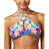 Bar III Womens Feather Daze High Neck Crossover Swim Top Separates