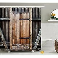シャワーカーテン バスカーテン 風呂カーテン 防水 防カビ加工 木製扉 おしゃれ 田舎風 カーテンリング付属