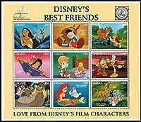 ディズニー「ベストフレンズ」の切手 ガーナ1996年9種連刷シート ピノキオ、アラジン、リトルマーメード、バンビ、ジャングルブックなど