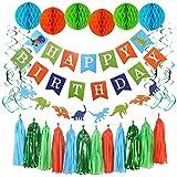 誕生日 飾り付け 恐竜  HAPPY BIRTHDAYガーランド 動物 ガーランド ペーパーフラワーORASU 男の子 ドラゴン パーティー 装飾 バースデー飾り 10枚セット … (22pc)