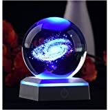 AIRCEE 3D Model of Galaxy Crystal Ball, with Led Lamp Stand, Planets Glass Ball, 6 Colors Light, Great Gifts, Educational Toy
