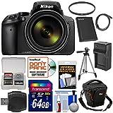 Nikon Coolpix p900Wi - Fi 83xズームデジタルカメラwith 64GBカード+バッテリー+充電器+ケース+三脚+フィルタ+キット