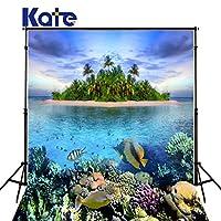 ケイト5ft (W) x7ft (H) シャコガイ写真バックドロップColorful Underwater World Fish Coral Sharkフォトスタジオ背景シーワールド写真Backdrops子供キッズ赤ちゃん大人under the seaフォトスタジオ小道具