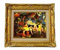世界の名画 アウグスト・マッケ 牛とラクダのいる風景ジクレーキャンバス複製画F3号豪華額装品