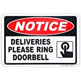 """Deliveries Please Ring Doorbell Sign, 10""""x 7"""" .04"""" Aluminum Sign Rust Free Aluminum-UV Protected and Weatherproof"""
