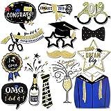 Konsait 卒業写真ブース小道具 (14個) 大きな卒業写真小道具 2019年のクラスの卒業式用 スティック付き装飾 子供 男の子 女の子 卒業パーティー記念品 装飾品