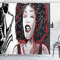 アフリカのシャワーカーテン、サックス奏者の人気のあるサウンドデザインで歌うアメリカの女の子、フック付きの布生地のバスルームの装飾セットブラックグレー 165X180 CM