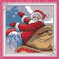 LovetheFamily クロスステッチキット DIY 手作り刺繍キット 正確な図柄印刷クロスステッチ 家庭刺繍装飾品 フレームがない 11CT ( インチ当たり11個の小さな格子)中程度の格子 刺しゅうキット - 17×17 cm サンタクロース