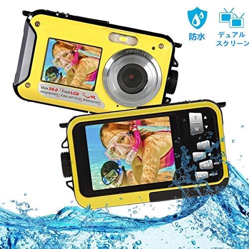 防水カメラ デジカメ 防水 水中カメラ デジタルカメラ フルHD 2.7K 48.0MP スポーツカメラデュアルスクリーン オートフォーカス デジカメ 水に浮く