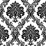 HaokHome 1074 ダマスク群れテクスチャ壁紙ロールブラックホワイト近代ホームルームの装飾53cm×10m(並行輸入品)