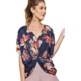 Umgee Twisted Sister! Great Floral Print Reversible Knot Top