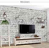 ブリック タイル レンガ 壁紙シール 70cm×77cm ブリックステッカー 軽量レンガシール 壁紙シール アクセントクロス ウォールシール はがせる 壁シール (お得10枚セット, 黒と白)
