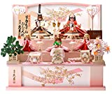 人形の久月 雛人形 リカちゃん 久月 収納飾り 三段飾り 五人飾り シリアル付 間口65×奥行46×高さ58cm h283-ri-2766