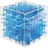 立体パズル 迷路 おもちゃ 知育 3D キューブ型 子供 脳トレ 孫 プレゼント 暇つぶし (クリアブルー)