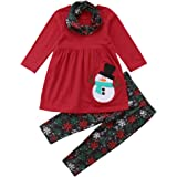 Fesixiny Kids Toddler Baby Girl Christmas Outfit Snowman Top Dress+Snowflake Pants with Scarf Clothes