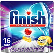 Finish Powerball Quantum Ultimate Dishwasher Tablets Superior Clean, Lemon, 16 Pack