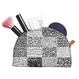 Snoogg 3つの黒と白の波形パターンをシームレスにタイルシームレスに設定するデザイナー多機能キャンバスペンバッグ鉛筆ケースメイクアップツールバッグストレージポーチの財布