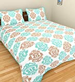 Turquoise Color Saganari King Size Double Bed Sheet With 2 Pillow Cover
