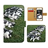 Tiara Xperia Z4 SO-03G スマホケース 手帳型 犬 いぬ イヌ ペット ハスキー 昼寝 手帳ケース カバー [E026601_03]