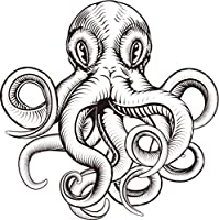 """強力なブラックとホワイトOctopus Squid # 1ビニールデカールステッカー 4"""" Wide 493639281"""