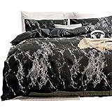 Spring Meow Duvet Cover Set Black Marble with Soft Lightweight Microfiber, 3-PCS(1 Duvet Cover + 2 Pillow Shams) -King, Queen