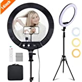 """Volkwell 14"""" Dimmable LED Ring Light, Wireless Remote Control Selfie Ringlight with Tripod Stand Phone Holder and Carrying Ba"""