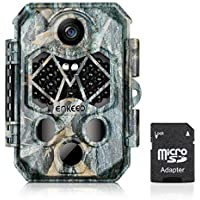 enkeeo トレイルカメラ 不可視赤外線 1080P 2000万超高画素 フルHD IP66高防水 人感センサー付き 120度検知範囲 自動撮影 監視・防犯・鳥獣害対策 電池式 PH770【メーカー保証】(SDカード付き)