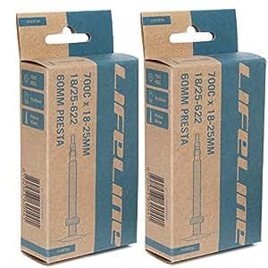 2本セット LifeLine ロードインナーチューブ 700×18-25C (仏式48mm) [並行輸入品]