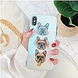 GuoDuo iPhone X ケース 専用iPhone 7 iPhone8 Plus カバー tpu ブルドッグ ドッグ ブルーレイ 白 スマホケース 犬 携帯電話ケース おしゃれ おもしろ かわいい いぬ iphone6 iPhone6s Plus (iPhoneX)