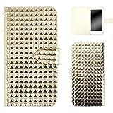 whitenuts AQUOS PHONE 006SH ケース 手帳型 エナメルブロック ゴールド スマホケース アクオス フォン 手帳 カバー 全機種対応 WN-OD012527_M