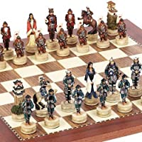 Japanese Samurai Chessmen & Astor Place Chess Board From Spain by