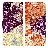iPhone8 iPhone7 手帳型 ケース カバー 和柄 着物風 mod04 和風 辻が花 着物 着物柄 紫