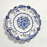 ポルトガル製 アルコバッサ 飾り皿 手描き ホワイト 花柄 アズレージョ 絵皿 26cm pfa-486w