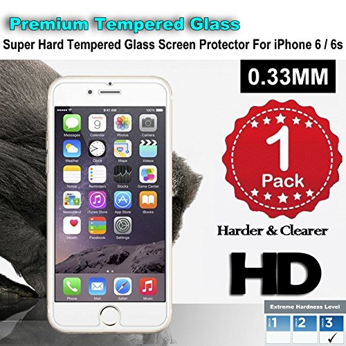 iPhone 6/6s Premium Tempered Glass Screen Protector (1 Pack) 3D Touch Super Hard 0.33mm By Jimkev 2.5d-Extreme Hard Series (iPhone 6/6s) JimKev