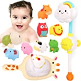 Kitoid Baby Bath Toys, Bathtub Toy with Rainbow Shower 12Pcs, Floating Squirting Toys With Storage Bag(including 9 Barnyard A