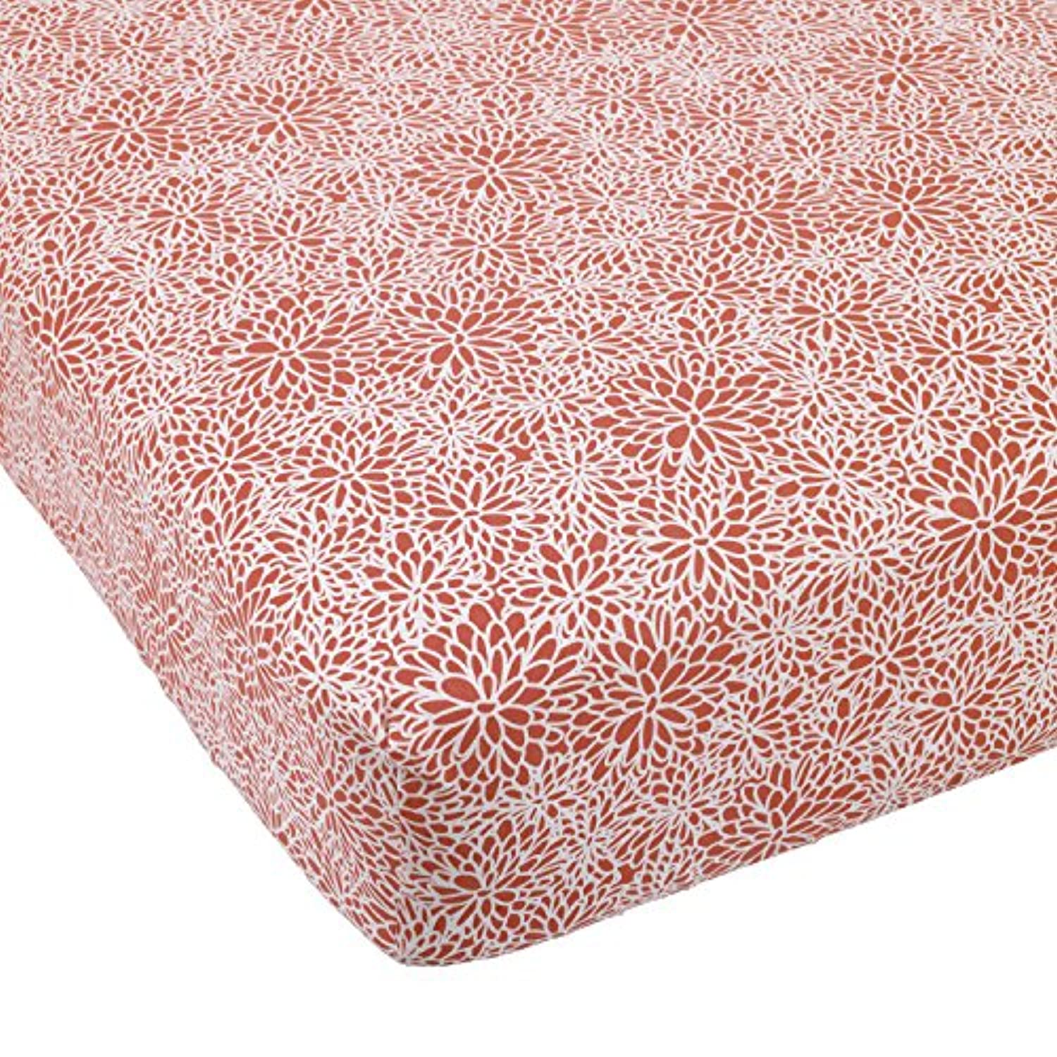 Balboa Baby Cotton Sateen Fitted Crib Sheet, Coral Bloom by Balboa Baby