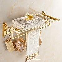 アルミバスルーム棚壁掛け折りたたみ式シャワー棚タオルバーとフック付きバスタオルラック,Gold
