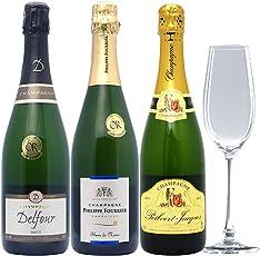 △お試しセット!高コスパ・高品質シャンパン3本セット+クリスタルグラス1客((W0C301SE))(750mlx3本ワイン+グラス1客)