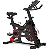 TRYA Spin Bike, Belt Drive Indoor Cycling Bike Stationary with Ipad Mount, 35 LBS Flywheel Workout Bike for Home Cardio Gym,