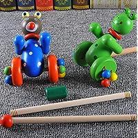 幼児期のゲーム 子供のための玩具に沿って漫画の木製のカエルプッシュプッシュ