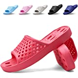 Xomiboe Shower Shoes with Drainage Holes Quick Drying Non Slip Soft Mens and Womens Bathroom Slippers Red Size: 5.5-6 Women/4